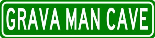 grava-man-cave-personalized-last-name-street-sign-heavy-duty-9x36-quality-aluminum-sign