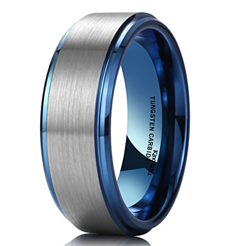 King Will DUO 8mm Blue Tungsten Carbide Wedding Band Ring Brushed Center Polish Finished Comfort Fit 8.5