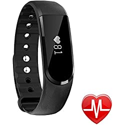 Smart Watch LETSCOM Fitness Activity Tracker with Heart Rate Monitor Bluetooth 4.0 and Waterproof Pedometer Bracelet with Call/MSM Reminder, OLED Touch Screen for Android and IOS, Black