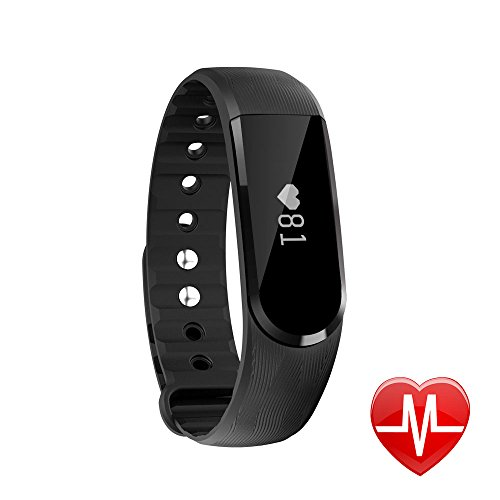 LETSCOM Smart Watch, Fitness Activity Tracker with Heart Rate Monitor Bluetooth 4.0, IP67 Waterproof Smart Pedometer Bracelet with Call/MSM Reminder, OLED Touch Screen for Android and IOS, Black