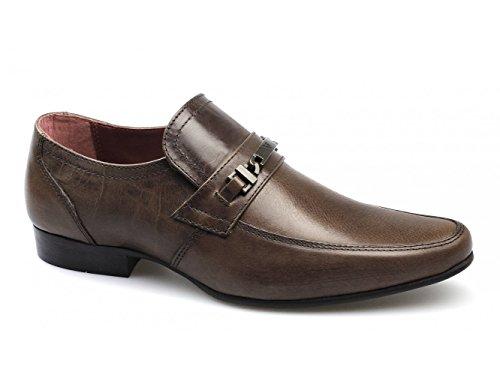 rojo cinta Luther Cuero Hombres Metal Tira Zapatos marrones Marrón