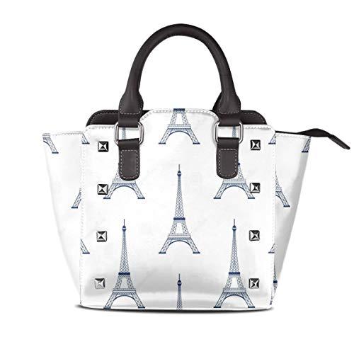 Eiffel Tower Outline Wallpaper Shoulder Bag Rivet PU Leather Tote Bag Large Space & Fashion Designed Hand-held Bag 10cm 19cm -