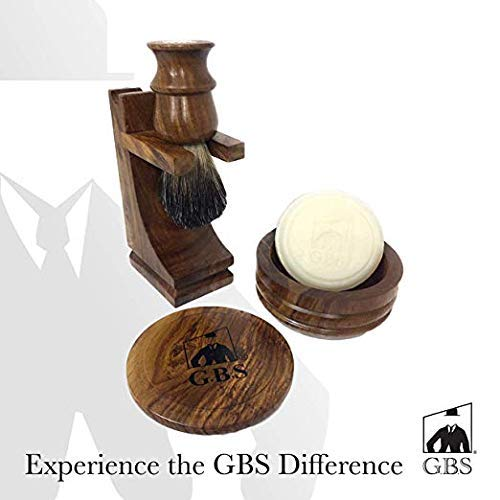 (GBS Men's Wood Shaving Bowl and Brush Set - Razor & Brush Stand with Shave Soap)