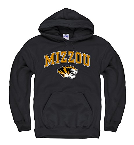 Campus Colors Missouri Tigers Adult Arch & Logo Gameday Hooded Sweatshirt - Black, Large