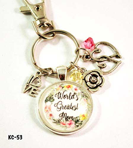 World's Greatest Mom Key Chain with Clasp Silvertone Large Keyring Purse Charm
