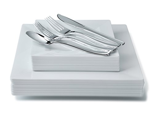 ce Party Disposable Dinnerware Set - Wedding Plastic Plates & Silverware for 25 guests (Square White with silver coated flatware) ()