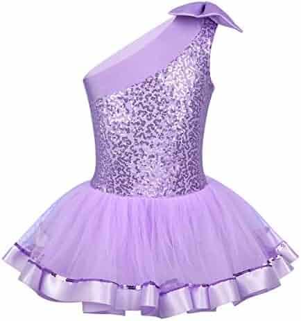 Agoky Kids Girls Shiny Sequins Ruffled Ballet Dance Gymnastics Leotard Tutu Dress Sports Apparel