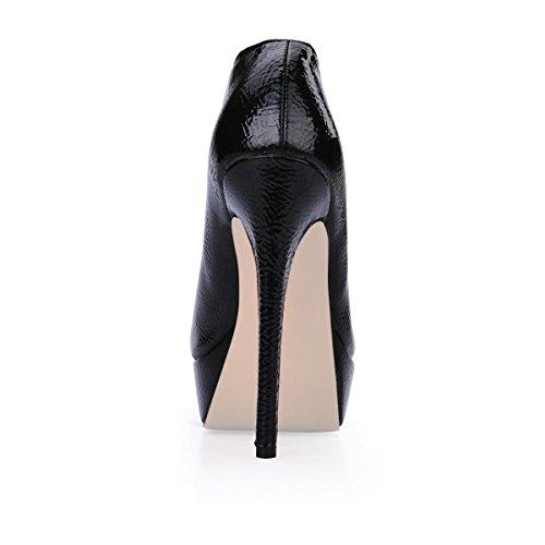Toe Cuir En Patent Stiletto Boots Shoes Talons Rubber 14cm Bottines Best Stiletto À Féminin Women's Caoutchouc En Ankle 4u Chaussures Round Hauts Leather Meilleur Verni 14cm Sole Noir Rond Heels Black 4u Bout Semelle High fxxqYZRF