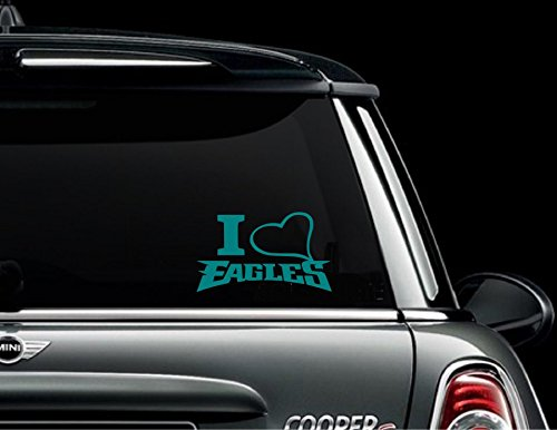 I Love Philadelphia Eagles(Teal) Auto Vinyl All-Weather Decal Window Car SUV Truck Bumper Sticker Football NFL Black White Red Green Teal 5