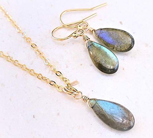 Labradorite Blue Flash Pendant Necklace and Earring Set - 14K GF - Gemstone Jewelry Gift for Women -