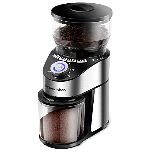 Automatic Conical Burr Coffee Grinder- Big Capacity, Stainless Steel Electric Burr Mill Coffee Grinder with 12 Precise…
