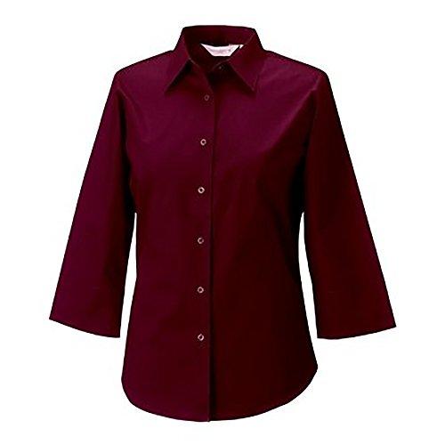 Russell Collection- Camisa entallada de manga tres cuartos de fácil cuidado para mujer Marrón chocolate