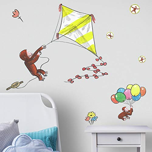 (RoomMates Curious George Storybook Kite Peel And Stick Giant Wall Decals)