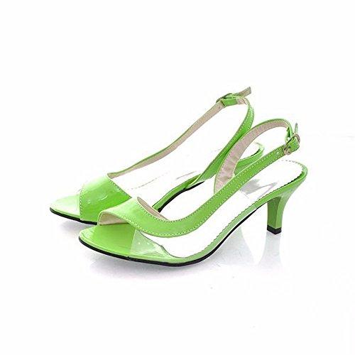 Señoras sandalias, zapatos de mujer transparente, verano, boca de pescado con dulces, señoras sandalias green
