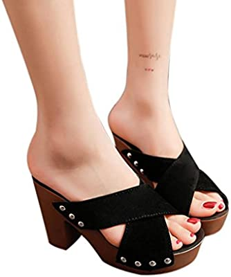 6a8e3ab47ad14 Haoricu Clearance High Heel Shoes Women Cross Strap Chunky Heel Wedges  Sandal Thick High-Heeled