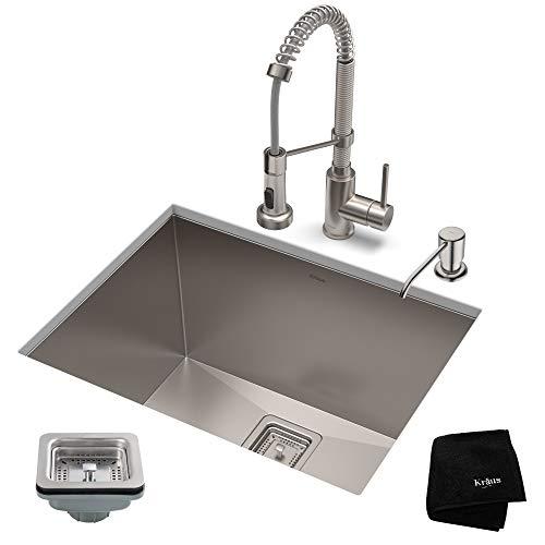 (KRAUS KHU24L-1610-53SS Set with Pax Laundry Utility Sink and Bolden Commercial Pull Faucet in Stainless Steel Kitchen Sink & Faucet)
