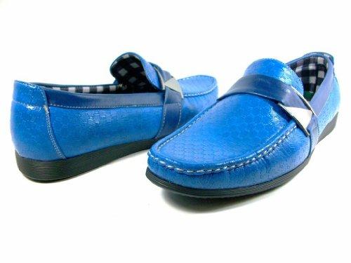 Mens 3034 Blauwe Casual Mocassins Bestuurder Slip Op Loafer Schoenen