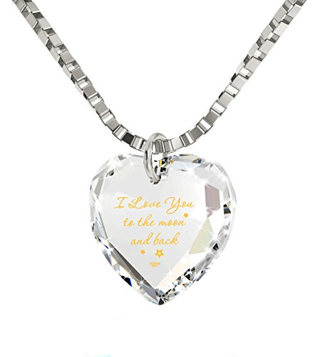 I Love You to The Moon and Back Tiny Crystal Heart Necklace 24k Gold Inscribed, 18 – NanoStyle Jewelry