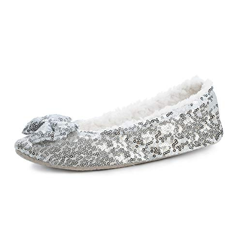 Poemay Women's Warm Home Slippers Indoor Slip Soles Ballerina House Shoes L Gray (Slipper Silver)