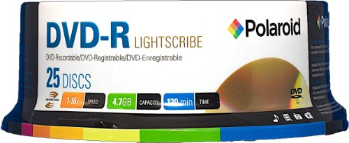 Polaroid PRDVDRLS25S Lightscribe DVD-R 4.7GB 120-Minute 16x Recordable DVD Disc, 25-Pack Spindle by Polaroid