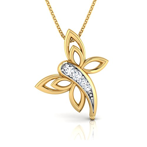 14K Or blanc 0,03CT TW Round-cut-diamond (IJ | SI) Pendentif