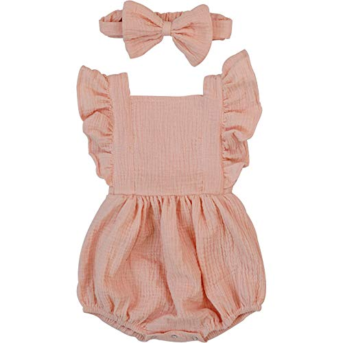 (Luckikikids Baby Romper Girl Organic Cotton 0-3 6 9 Months Baby Girl Boutique Clothing Double Gauze Puff Sleeve Infant Bubble Outfit (Pink,)
