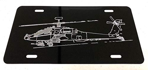 Diamond Etched Army Apache Helicopter Car Tag on Aluminum License ()