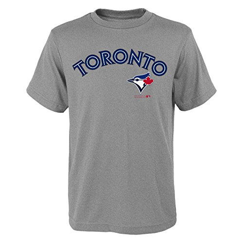 Tee Wordmark Blue Youth - MLB Toronto Blue Jays Youth Boys 8-20 Wordmark Tee-L (14-16), Heather Grey