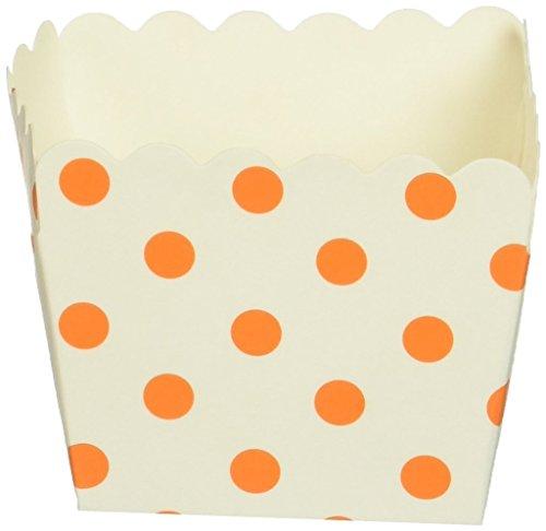 Dress My Cupcake Polka Dot Square Loaf Pan Favor Box (Set of 12), Orange