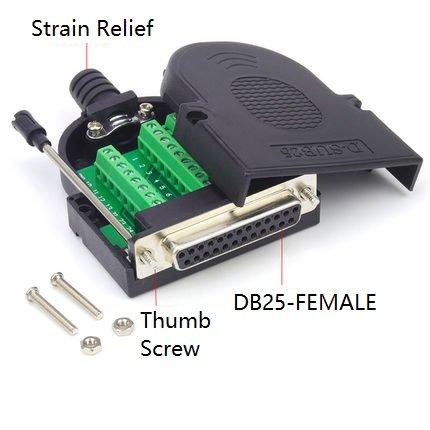 EZSync Female D-Sub DB25 Terminal Block Adapter Kit,Solderless Breakout, 2X Pack, DB25 Female, Thumb Screw, EZSync907 (Block D-sub Connector)