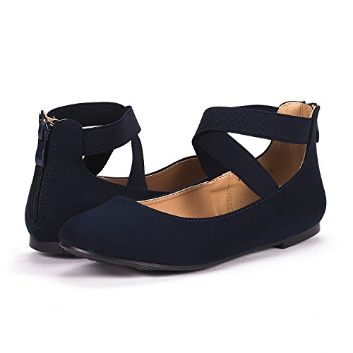 DREAM PAIRS Womens Sole_Stretchy Fashion Elastic Ankle Straps Flats Shoes Navy Cp2BAa