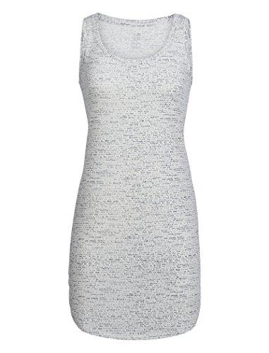 Icebreaker Merino Women's Cool-Lite Yanni Windstorm Print Tank Dress, Snow/Stealth, Large -
