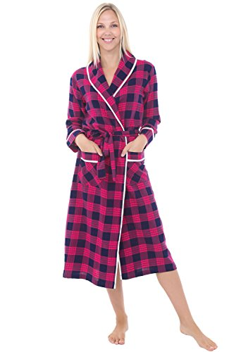 (Alexander Del Rossa Womens Flannel Robe, Lightweight Cotton Bathrobe, XL Classic Pink Plaid (A0549Q25XL))