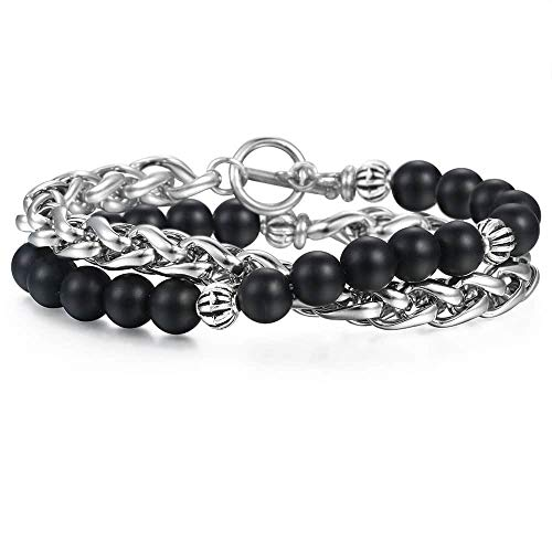 Trendsmax Energy Healing Crystal Yoga Natural Stone Black Glass Bracelets Stainless Steel Beads Double Bracelet for Men Boys Wheat Link 8 Inch (Double Link Rolo)