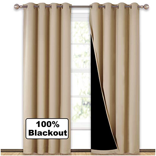 (NICETOWN Thermal Insulated 100% Blackout Curtains, Multi-Function Noise Reducing Performance Drapes with Black Lining, Full Light Blocking Drapery Panels for Patio (Biscotti Beige, 1 Pair, 52