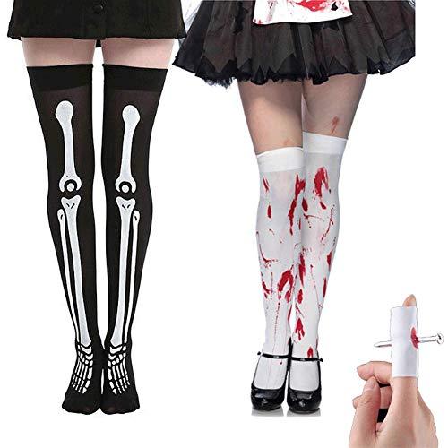 Halloween High Socks, Bloody Horror Zombie Thigh High Socks Socks with Nail Through Finger, 8 -