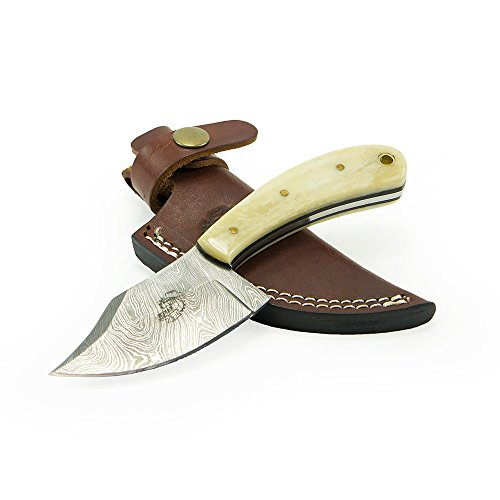 "Knives Ranch Damascus Steel Knives 6.75"" Knife with Bone Handle and Leather Sheath"
