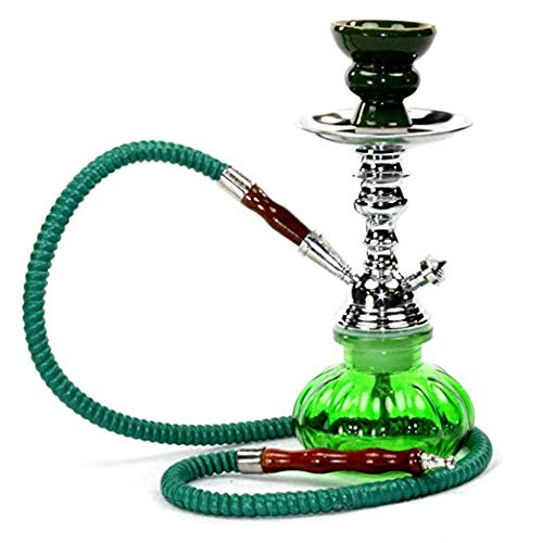 Hookah Shisha Nargila Smoking Water Pipe Bong Glass Tobacco 1 Hose Bowl Set Green Color