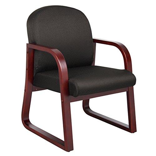 Back Sled Base Wood Chair - Contemporary Sled Base Cushion Seat Mahogany Wood Reception Chair (Black)