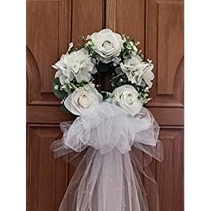 Bridal shower wreath,Bridal shower door wreath, Wedding deco, Bridal shower deco, White rose wreath with veil, wedding shower wreath, wedding wreath 26