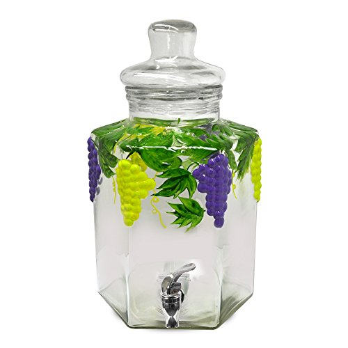 3 Gallon Glass Beverage Dispenser Crock With Grape Decal With Glass Lid - Perfect for Serving Wine