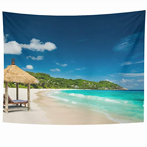 Ahawoso Tapestry 60x50 Inch Carribean Beach Cloud Beds Roof Turquoise Coast Mahe Peace Sea Parks Luxury Island Tropic Seychelles Hut Travel Tapestries Wall Hanging Home Decor Living Room Bedroom ()