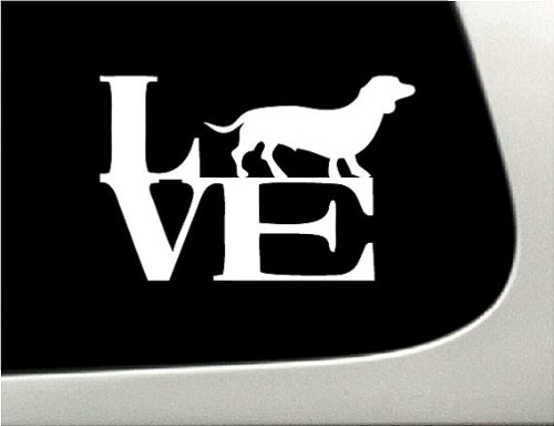 LOVE dachshund Dog Puppy Text Vinyl Car Sticker Symbol Silhouette Keypad Track Pad Decal Laptop Skin Ipad Macbook Window Truck Motorcycle (Symbol Puppy Text)