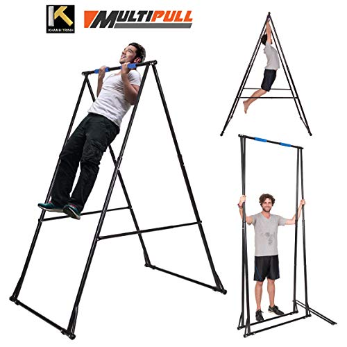 KT Abs Pull up Bar, Mens Pull-up Bar Machine, Adjustable Pullup Stand with Portable Frame, Indoor Pull Ups Machine Equipment, Standing - Gym Training Pullups Workout for Users up to - Portable Station Pull Up