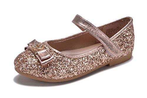 New Girls Rose Gold Silver Glitter Metallic Flats Dress Shoes Mary Jane Round Toe Kids (11, Rose Gold)