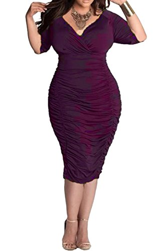 LaSuiveur Women's V-Neck Pleated Dresses Plus Size Bodycon Dress XXXL Purple