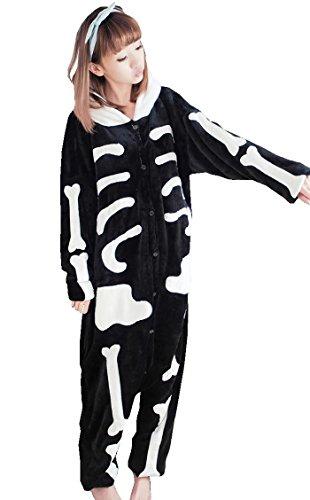 Tramii Women's Flannel Comfort Onesie Pajamas Loungewear - S: 152 - 158cm (4.9' - 5.2') height, Skull