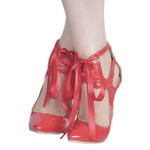Piel Sandalias garlos de Mujer Red Vestir Para de B1qgT
