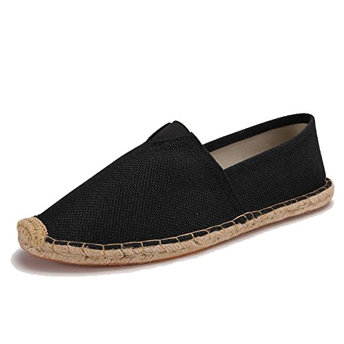 Unisex Breathable Canvas Shoes Slip-on Espadrilles Loafers Flats Shoes for Women Men Pure Black EU43 (Womens Canvas Espadrilles)