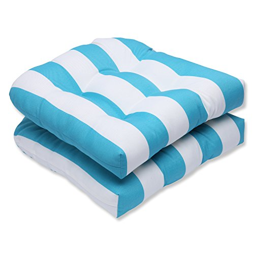 Cabana Stripe Pillow (Pillow Perfect Outdoor Cabana Stripe Wicker Seat Cushion, Turquoise, Set of 2)